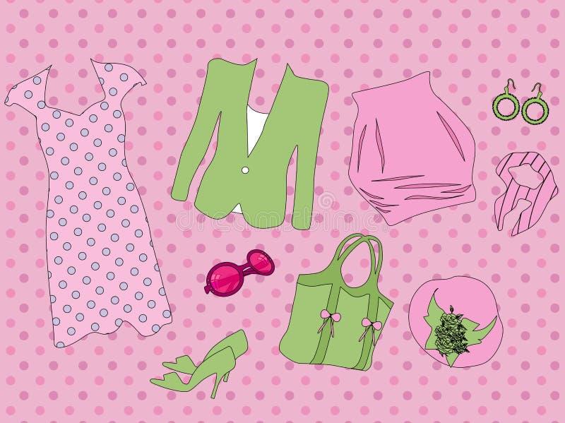 Retro kleren voor vrouw stock illustratie