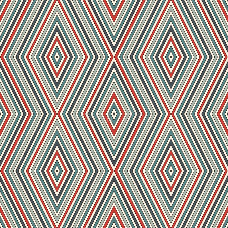 Retro kleuren naadloos patroon met geometrische cijfers Herhaalde diamant sierachtergrond Ruiten en lijnenmotief vector illustratie