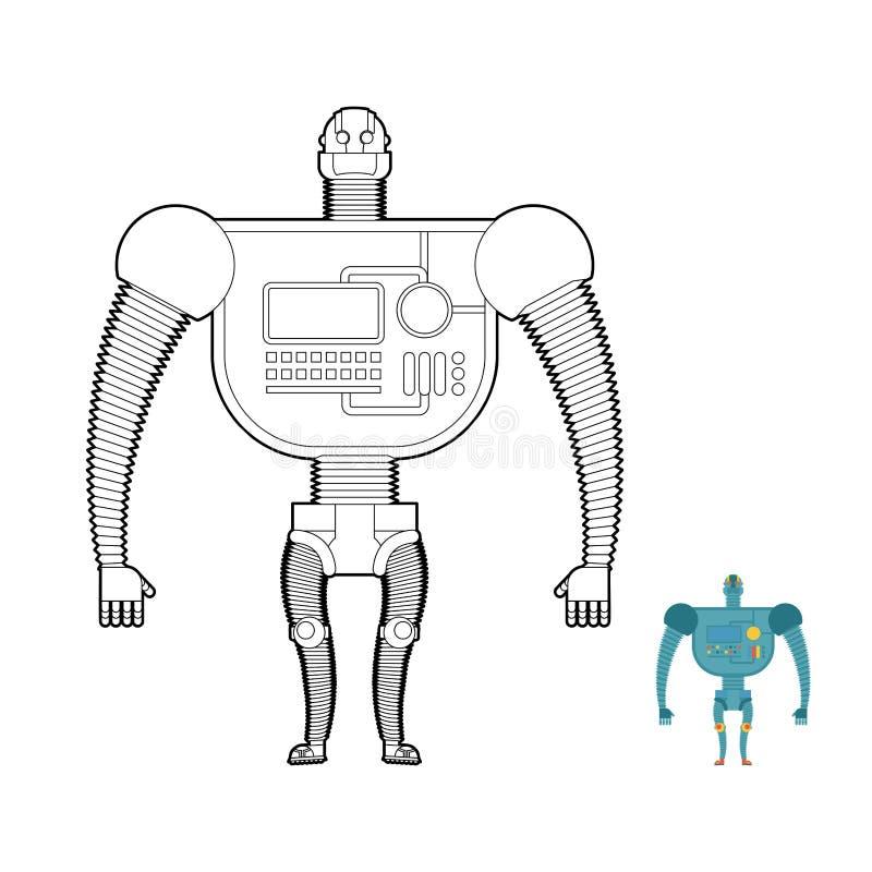 Retro kleurende boek van de Robotstrijder Stuk speelgoed voor jongens Ruimte robot, stock illustratie