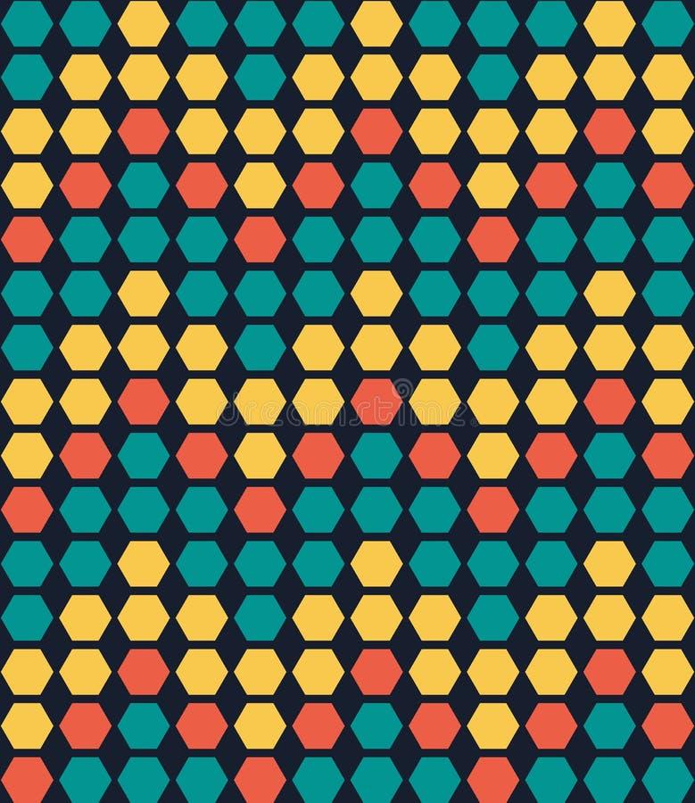 Retro kleurrijk geometrisch hexagon naadloos patroon vector illustratie
