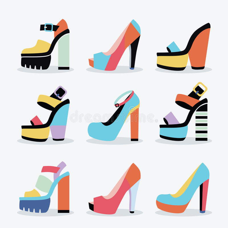 Retro kleurrijke en in vrouwen geïsoleerde geplaatste schoenen van de platform hoge hiel vector illustratie
