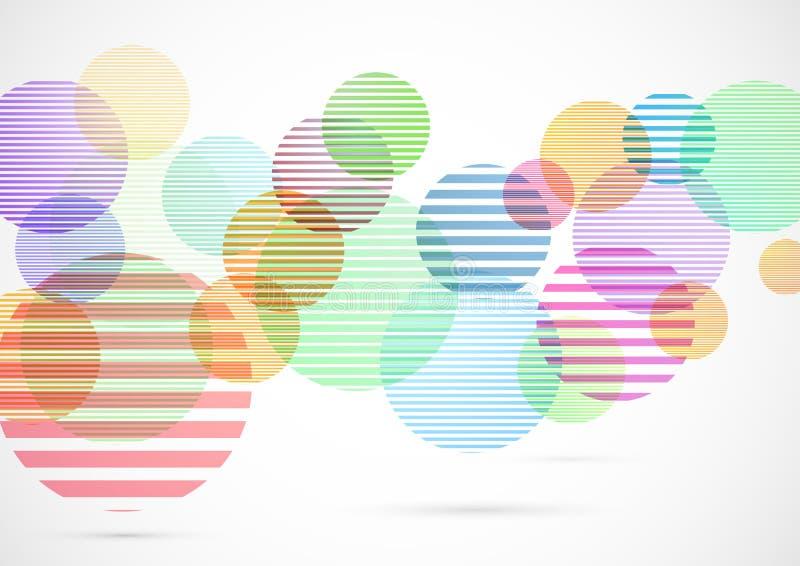 Retro kleurrijke heldere achtergrond van cirkelelementen royalty-vrije illustratie