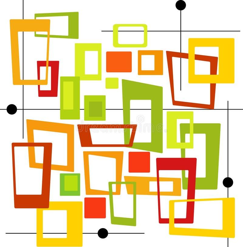 Retro Kleurrijke Vierkanten (Vector vector illustratie