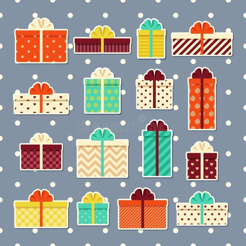 Retro klistermärkear för gåvaaskar Uppsättning av färgrika gåvor Vektorillu stock illustrationer