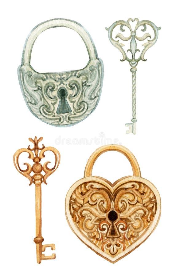 Retro klucze i kędziorki ustawiający ilustracji