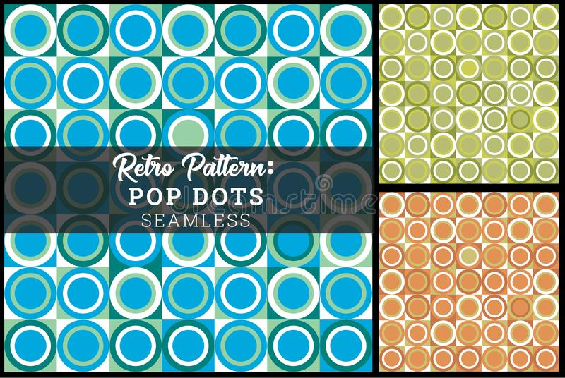 Retro- Knall Dot Seamless Background Concentric Circles vektor abbildung