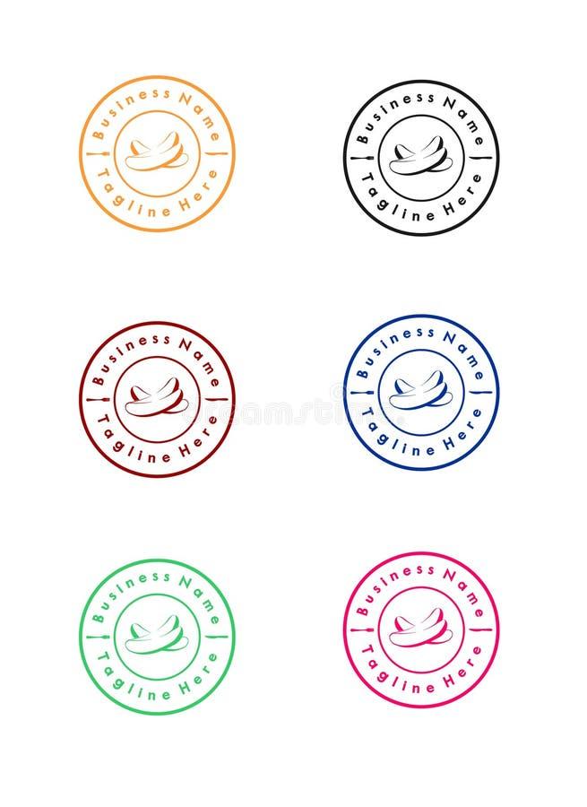 Retro knipalogomall med olikt färgalternativ restaurangtemamall royaltyfri illustrationer