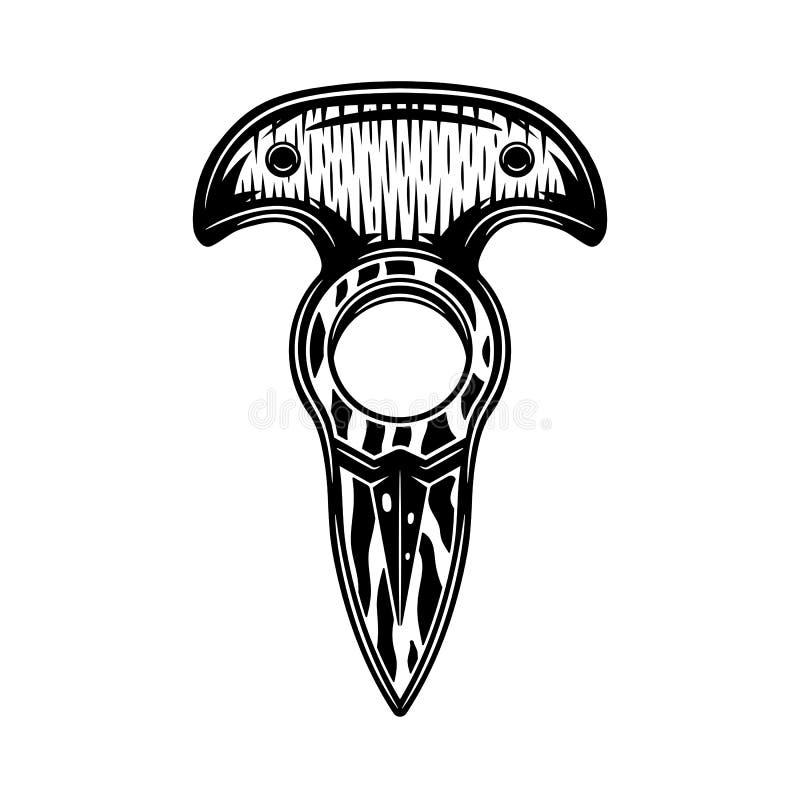 Retro knogekniv för tappning Grafik royaltyfri illustrationer