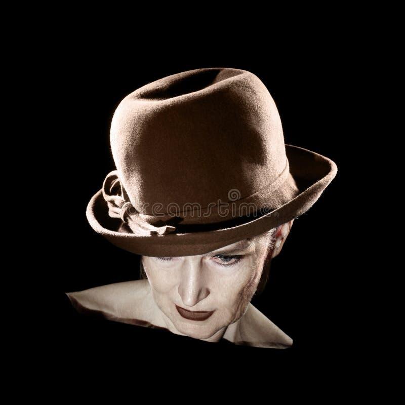 Retro kobieta w kapeluszowym rocznika portrecie zdjęcie royalty free