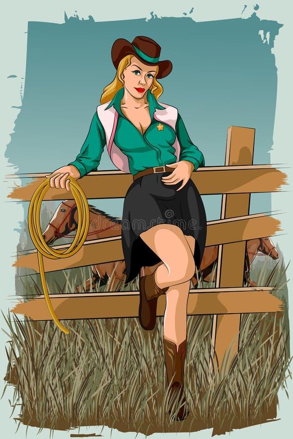 Retro kobieta w końskim rancho royalty ilustracja