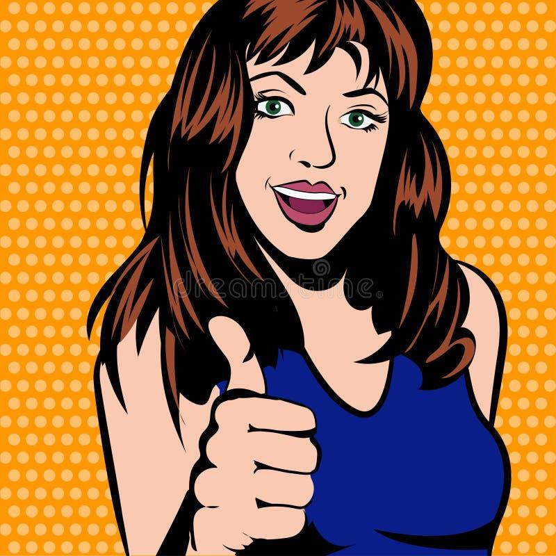 Retro kobieta w komiczkach projektuje, pokazywać kciuk w górę ilustraci ilustracja wektor
