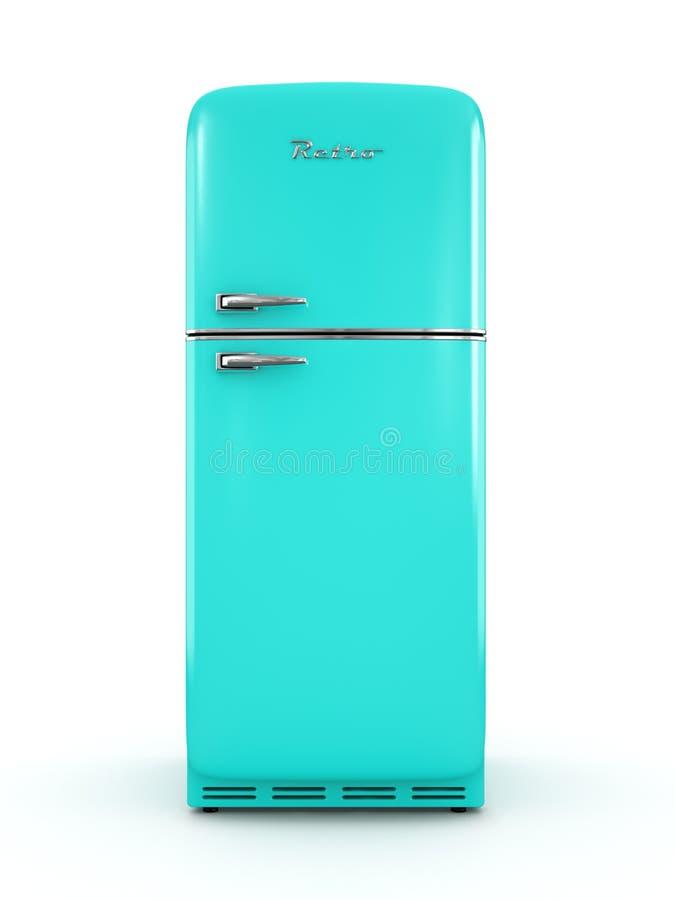 Retro koelkast bij het witte 3D teruggeven wordt als achtergrond geïsoleerd die stock illustratie