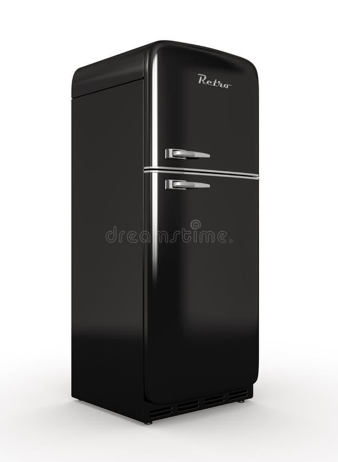 Retro koelkast isoleerde het witte 3D teruggeven als achtergrond stock illustratie