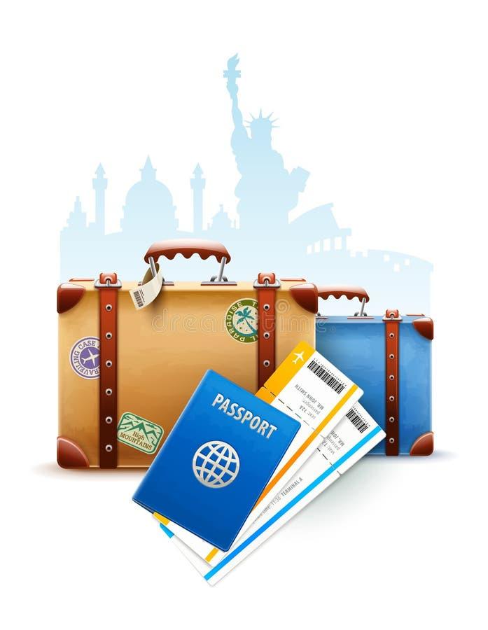 Retro- Koffer, Pass und Flugtickets lizenzfreie abbildung