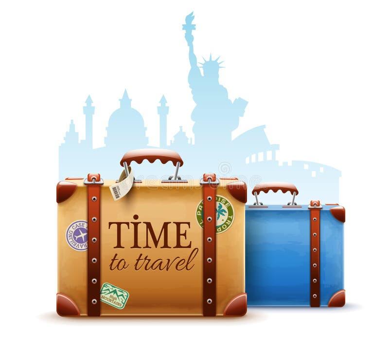 Retro- Koffer, Pass und Flugtickets stock abbildung