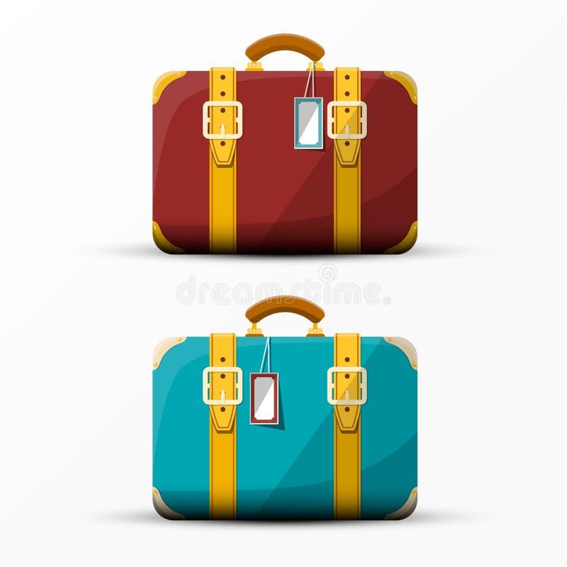 Retro koffer Uitstekende Vector Geplaatste Koffers stock illustratie