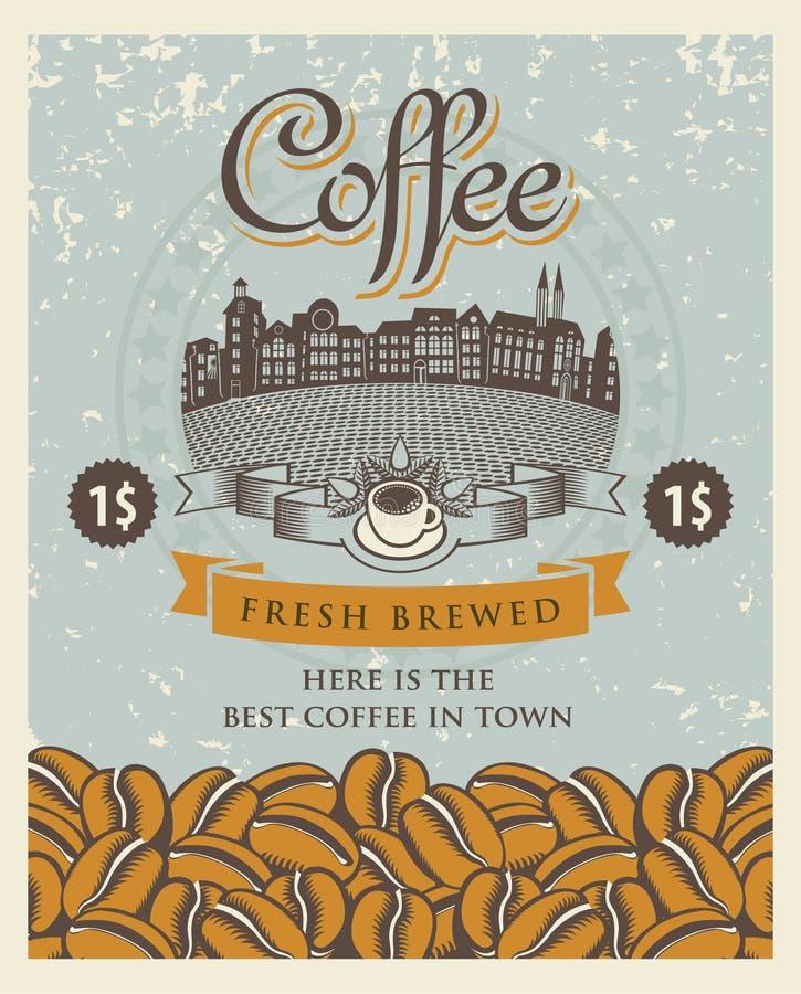 Retro koffie royalty-vrije illustratie