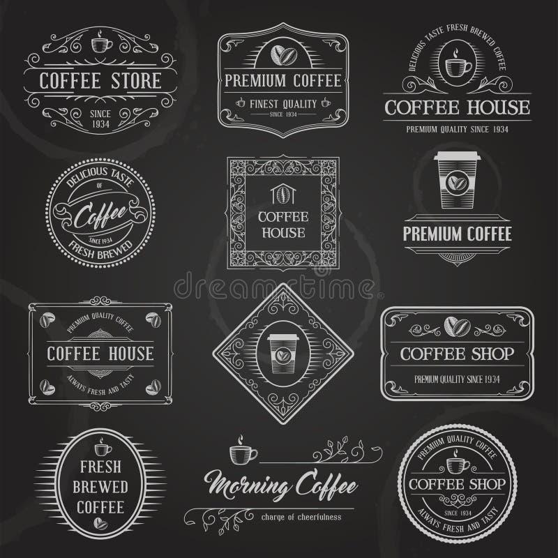 Retro Koffie etiketteert Zwarte vector illustratie