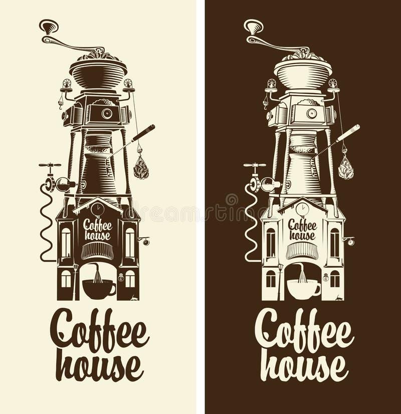 Retro koffiehuis royalty-vrije illustratie