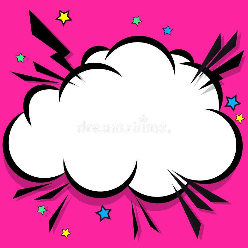 Retro komiczna projekt chmura Błyskowi wybuch mowy bąble ilustracji