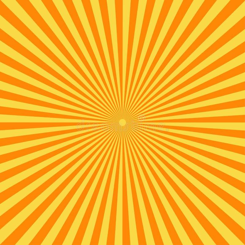 Retro komiksu tło Rocznika słońca żółci promienie wystrzał sztuki styl ilustracja wektor
