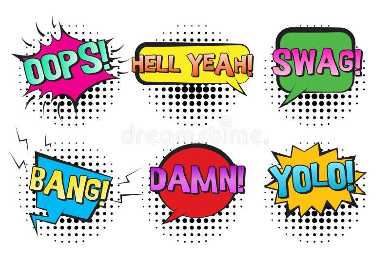 Retro- komische Rede sprudelt mit SWAG, YOLO, KNALL lizenzfreie abbildung