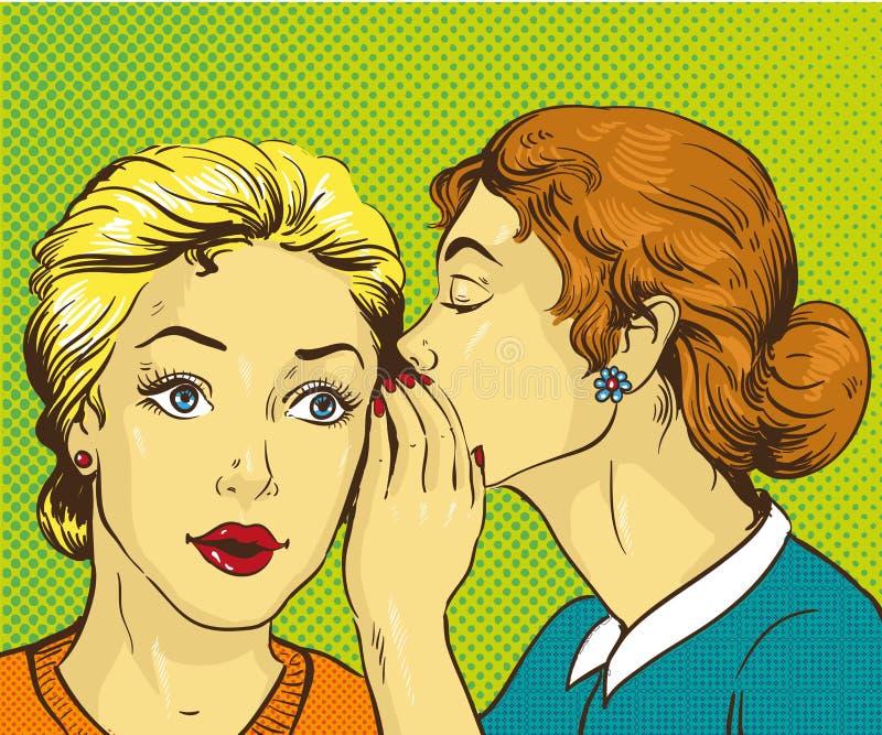 Retro- komische Vektorillustration der Pop-Art Frau, die Klatsch oder Geheimnis zu ihrem Freund flüstert stock abbildung
