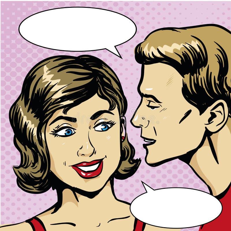 Retro- komische Vektorillustration der Pop-Art Mann, der Klatsch oder Geheimnis zur Frau flüstert Eine sprechenperson lizenzfreie abbildung