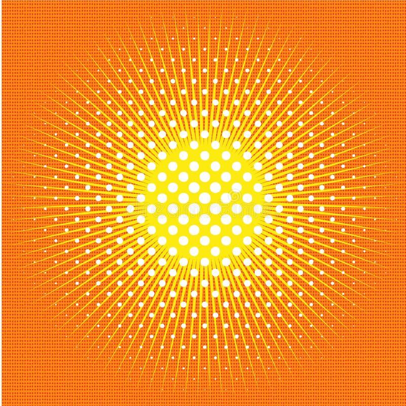 Retro- komischer Hintergrund der Pop-Art mit Sonne, Strahlen, Sonnenschein lizenzfreie abbildung