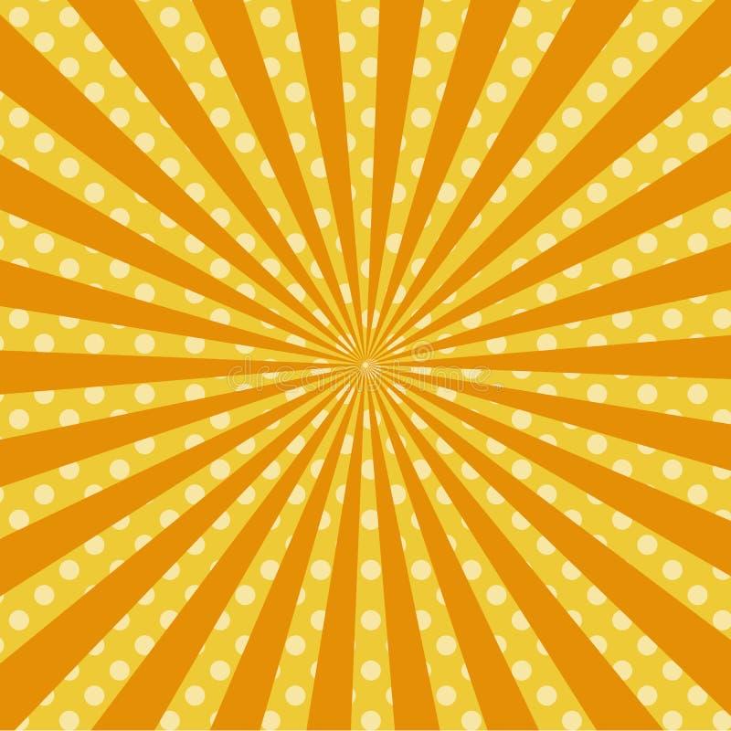 Retro- komischer Hintergrundraster der warmen orange Pop-Art vektor abbildung