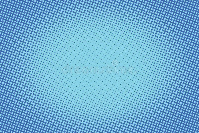 Retro- komisches blaues Hintergrundraster-Steigungshalbton lizenzfreie abbildung
