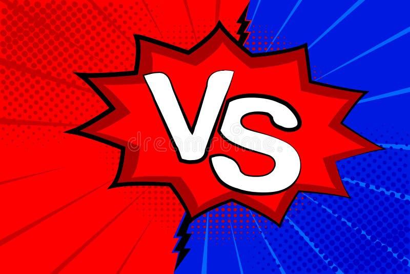 Retro- komisches der Pop-Art Blauer und roter Hintergrund E Karikatur gegen Vektor vektor abbildung