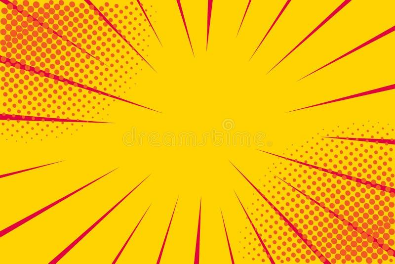 Retro- komisches der Pop-Art Gelber Hintergrund Blitzexplosions-Halbtonpunkte Karikatur gegen Vektor vektor abbildung