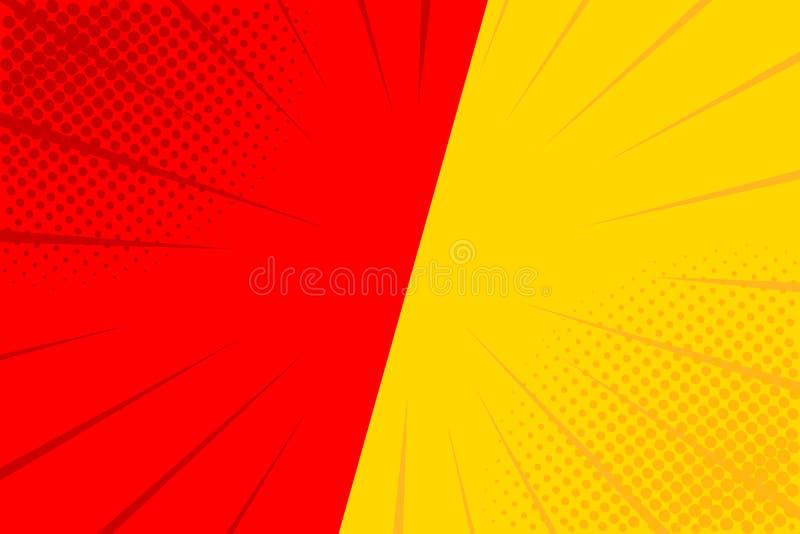 Retro- komisches der Pop-Art Gelber und roter Hintergrund E Karikatur gegen Vektor lizenzfreie abbildung