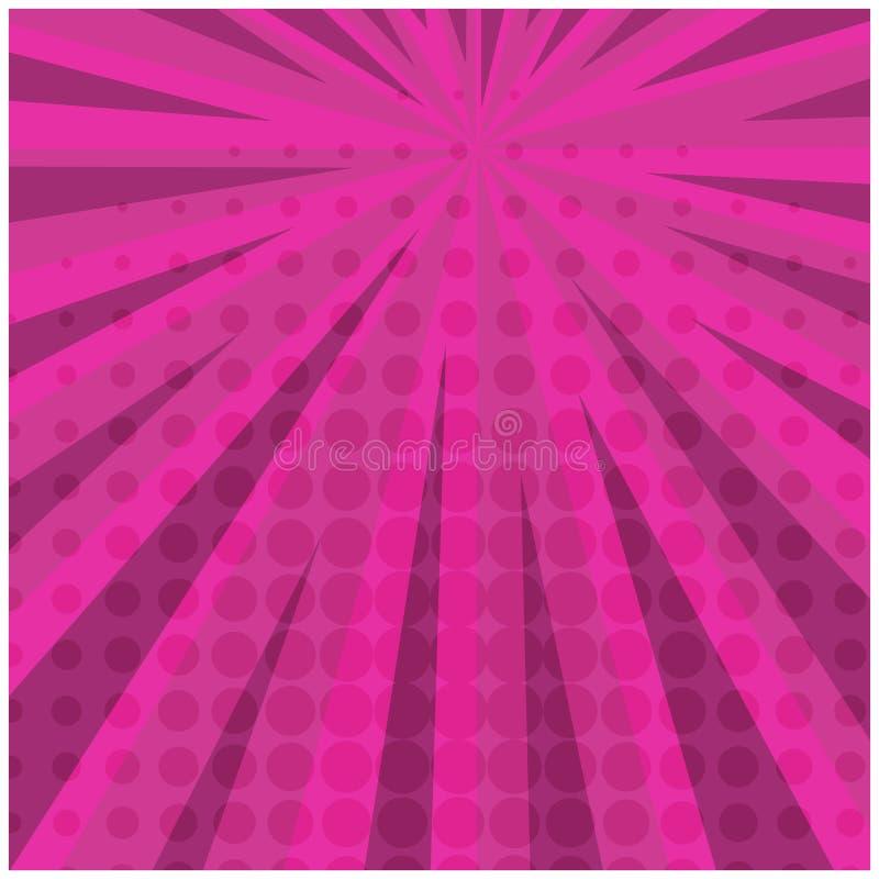 Retro komisk bakgrund för abstrakt ljus rosa färgfyrkant stock illustrationer