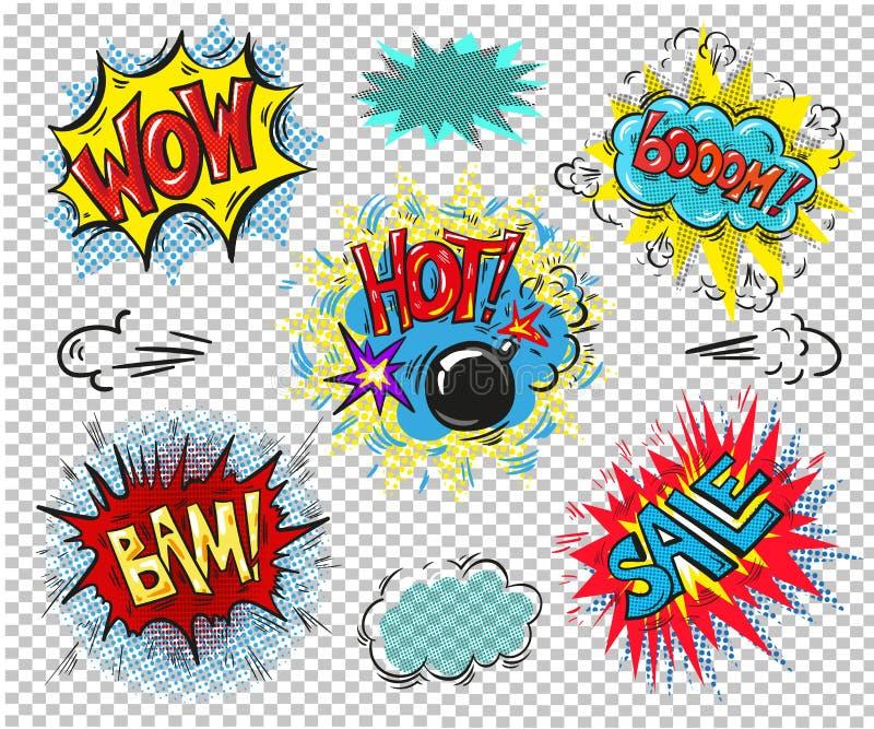 Retro komiska anförandebubblor ställde in på färgrik bakgrund Överraska den varma designen för tappning för ord för bangbam-försä royaltyfri illustrationer