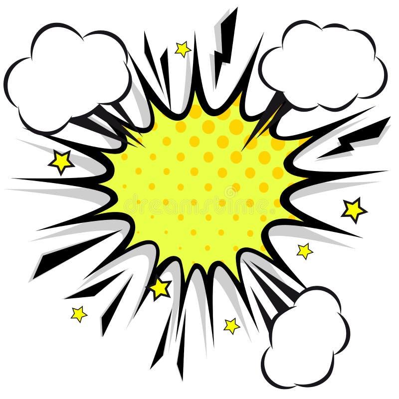 Retro komiska designanförandebubblor Prålig explosion med moln stock illustrationer