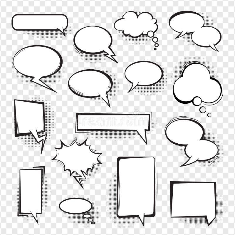 Retro komiska tomma anförandebubblor ställde in för meddelande vektor illustrationer