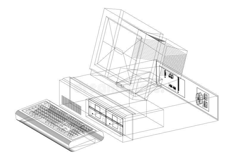 Retro Komputerowy architekta projekt - odosobniony ilustracja wektor