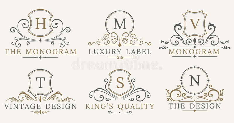 Retro Koninklijke Uitstekende Schilden Vector het ontwerpelementen van het Luxeembleem Bedrijfstekens, identiteit, kentekens royalty-vrije illustratie