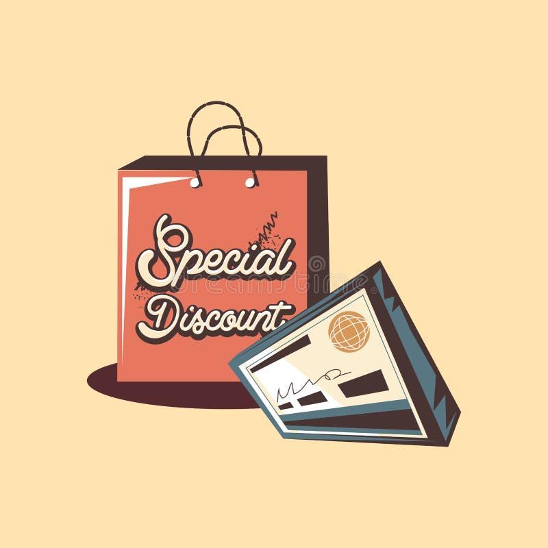 Retro kontroll för bank för rabatt för sakkunnig för shoppingpåse stock illustrationer