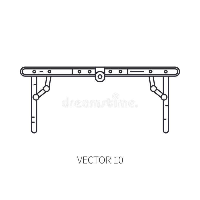 Retro konvertibelt möblemang, kompakt tabellvektorlinje symbol Sommarloppsemester, turism, campa utrustning royaltyfri illustrationer