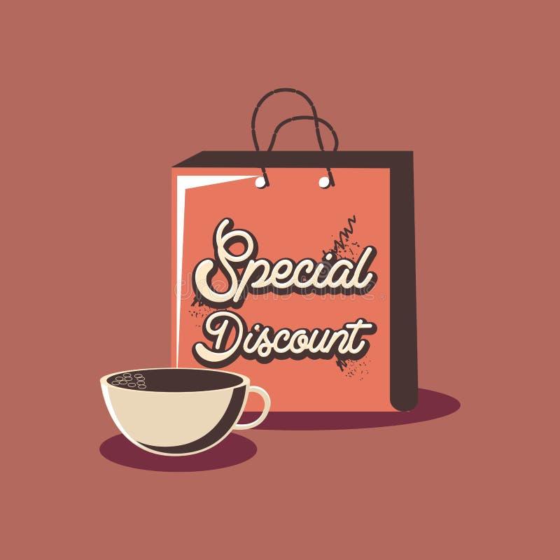 Retro kopp för kaffe för special rabatt för shoppinghandväska vektor illustrationer