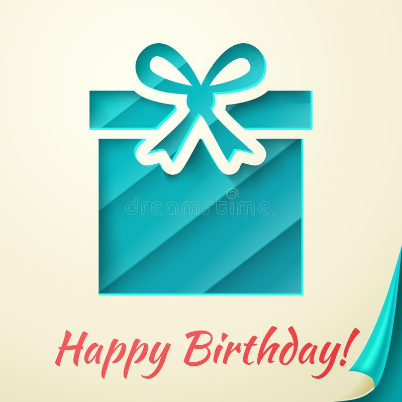 Retro kort för lycklig födelsedag med gåvaasken. Vektor royaltyfri illustrationer
