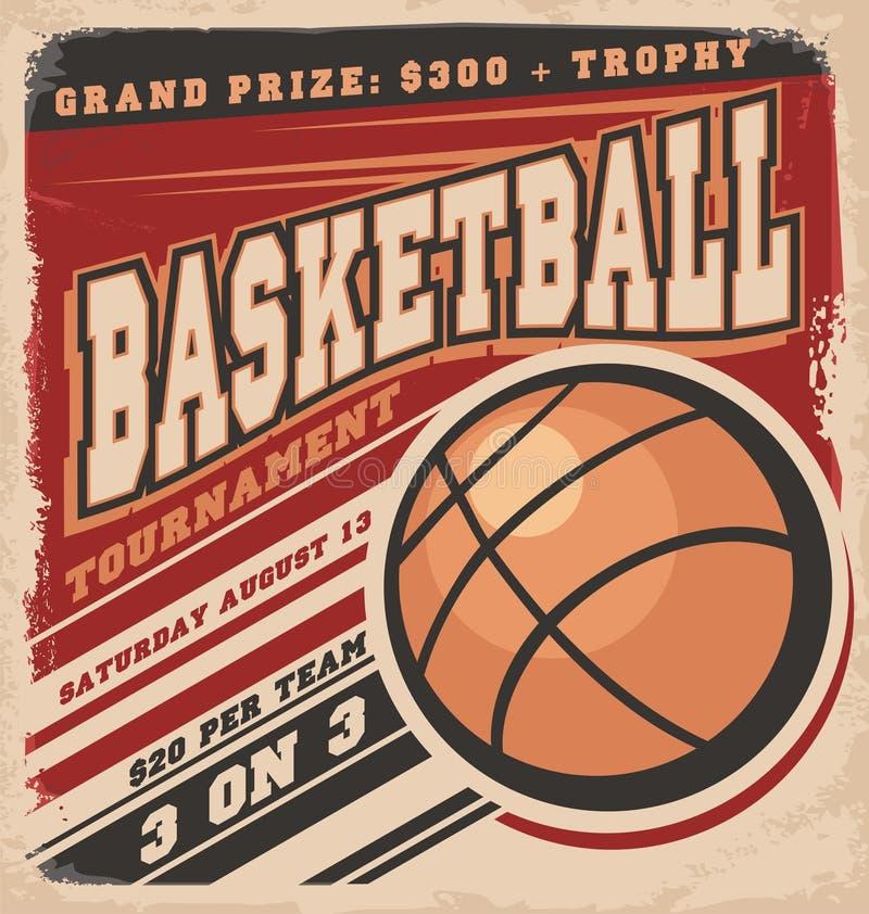 Retro koszykówki plakatowy projekt royalty ilustracja