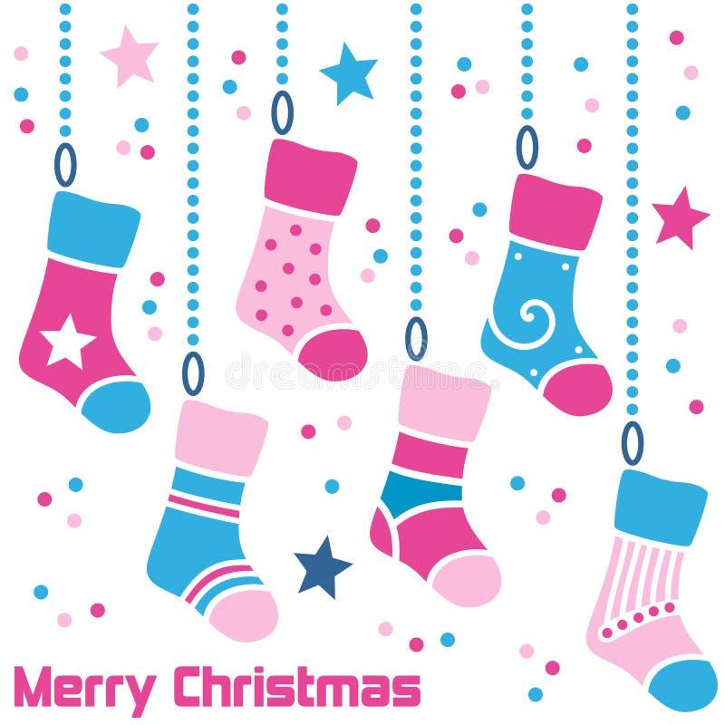 Retro Kousen van Kerstmis vector illustratie