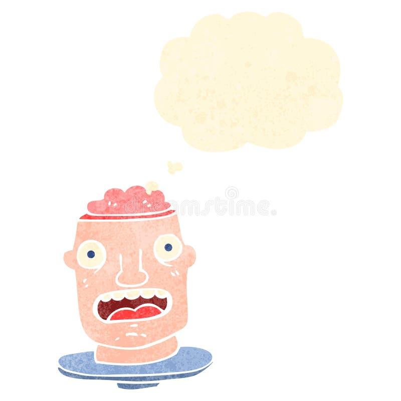 retro kreskówka brutto głowa z odsłoniętym mózg ilustracji