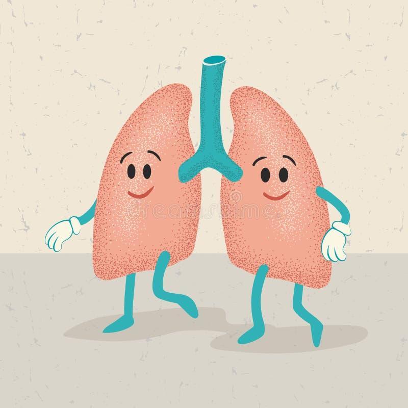 Retro kreskówka ludzcy płuco charaktery ilustracja wektor