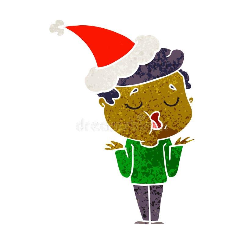 retro kresk?wka m??czyzna opowiada i wzrusza ramionami bra? na swoje barki by? ubranym Santa kapelusz royalty ilustracja