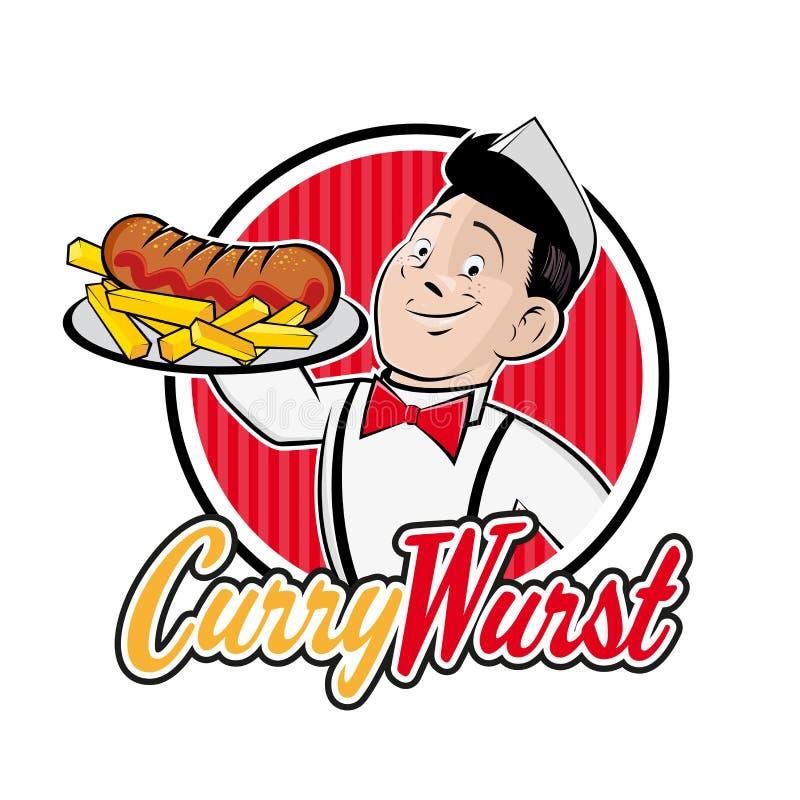 Retro kreskówka mężczyzna z Niemieckim currywurst ilustracji